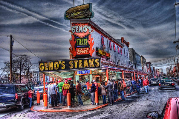 Hdr Art Print featuring the photograph Geno's Cheesesteaks by E R Smith