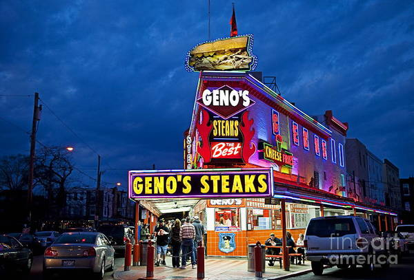 Philadelphia Art Print featuring the photograph Geno's Steaks South Philly by John Greim