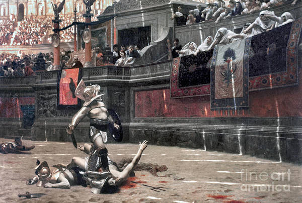 Ancient Art Print featuring the photograph Gerome: Gladiators, 1874 by Granger