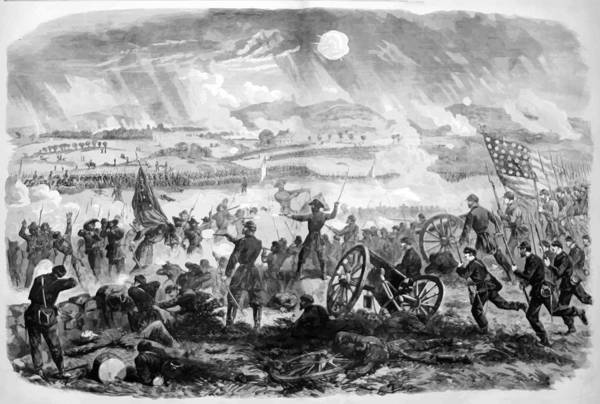 Gettysburg Art Print featuring the painting Gettysburg Battle Scene by War Is Hell Store