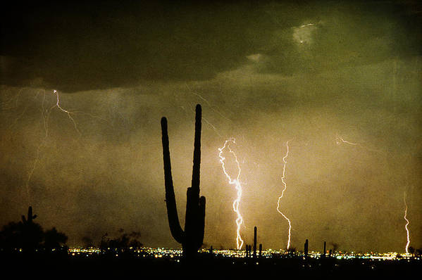 Lightning Art Print featuring the photograph Giant Saguaro Southwest Lightning Peace Out by James BO Insogna