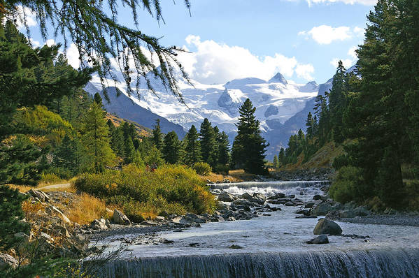 Mountain Art Print featuring the photograph Glacier Stream by Tom Reynen