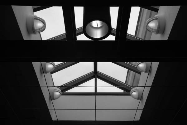 Black And White Art Print featuring the photograph Glass Sky Lights by Rob Hans