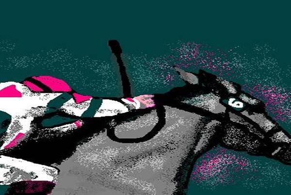 Race Horse Art Print featuring the digital art Go by Carole Boyd