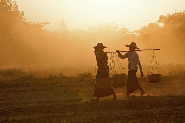 Asia Art Print featuring the photograph Going Home At Sunset by Michele Burgess