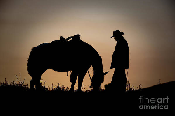 Cowboy And Horse Print featuring the photograph Going Home by Sandra Bronstein