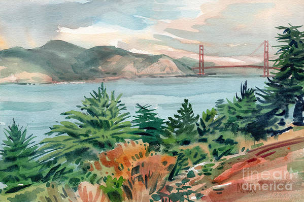 Golden Gate Bridge Art Print featuring the painting Golden Gate by Donald Maier