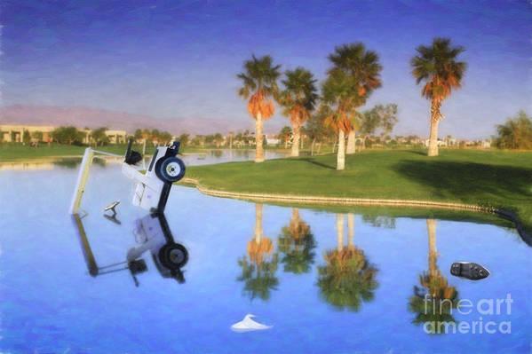 Golf Cart In Water Art Print featuring the photograph Golf Cart Stuck In Water by David Zanzinger