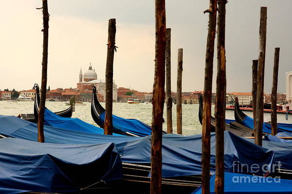 Venice Art Print featuring the photograph Gondolas And Poles In Venice by Michael Henderson