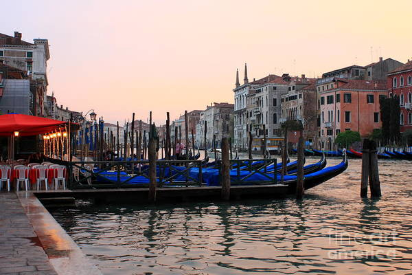 Venice Art Print featuring the photograph Gondolas On The Grand Canal In Venice In The Morning by Michael Henderson