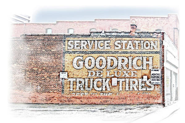 Goodrich Art Print featuring the drawing Goodrich Tires by Greg Joens