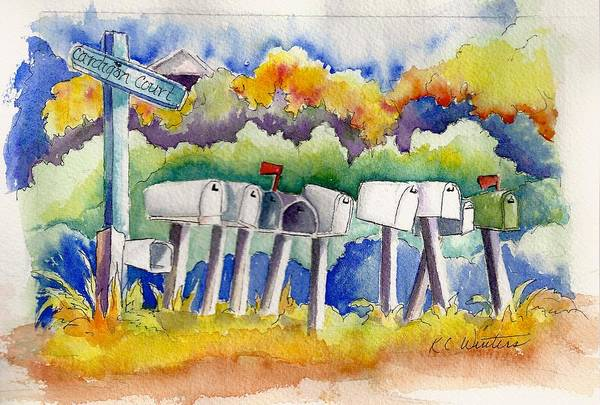 Whimsical Art Print featuring the painting Got Mail by KC Winters
