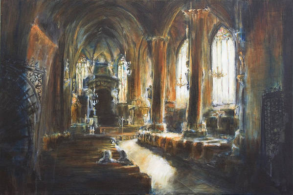 Church Art Print featuring the painting Gothic Church by Nik Helbig