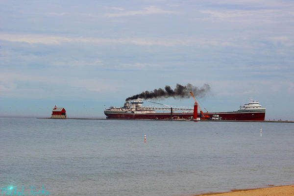 Lighthouse Art Print featuring the photograph Grand Haven Lighthouse Freighter by Michael Rucker