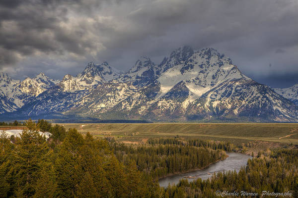 Grand Tetons Print featuring the photograph Grand Tetons Snake River by Charles Warren