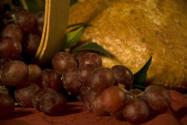 Fruit Art Print featuring the photograph Grapes And Bread by Jessica Wakefield