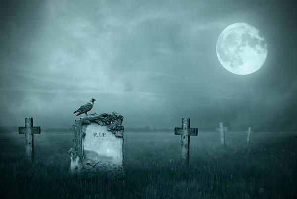 Ancient Art Print featuring the photograph Gravestones In Moonlight by Jaroslaw Grudzinski
