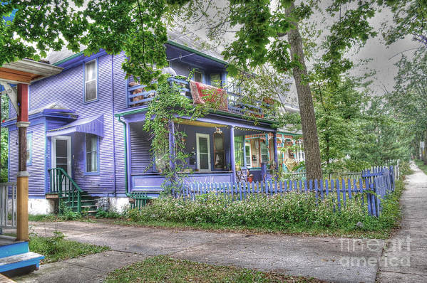 Purple House Art Print featuring the photograph Green Trim Gaudy-otherwise Understated by David Bearden