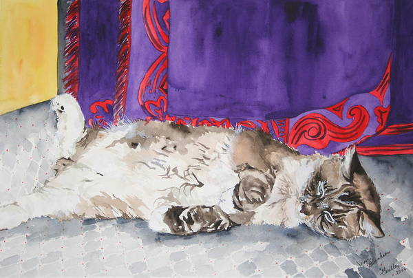 Cat Art Print featuring the painting Guilley by Jean Blackmer