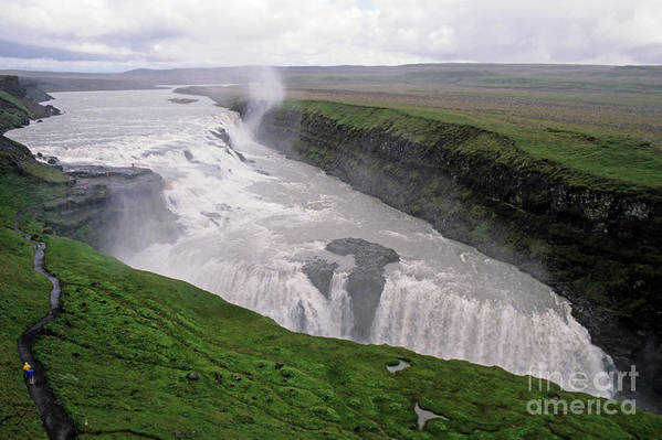 Background People Art Print featuring the photograph Gullfoss A Powerful Waterfall In The Canyon Of The Hvita River by Sami Sarkis