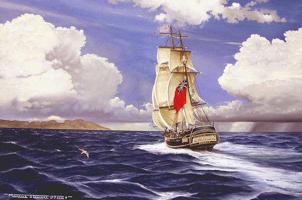 Marine Art Print featuring the painting H. M. S. Bounty At Tahiti by Marc Stewart