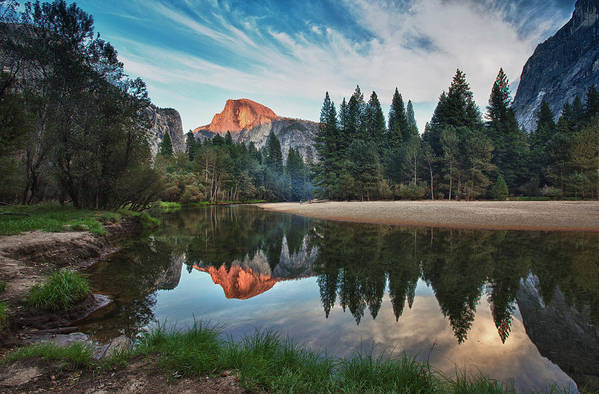 Horizontal Art Print featuring the photograph Half Dome And Merced by Mimi Ditchie Photography