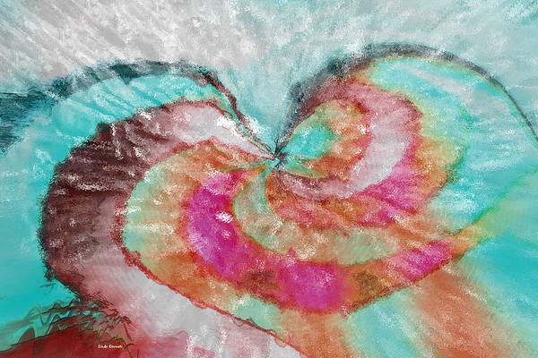 Abstract Art Art Print featuring the digital art Happy Valentine's Day by Linda Sannuti