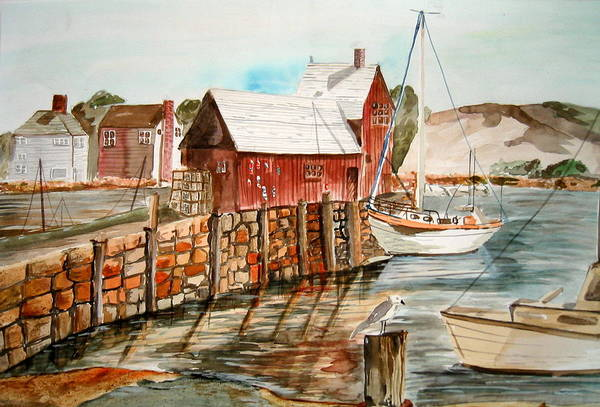 Original Art Art Print featuring the painting Harbor Scene New England by K Hoover