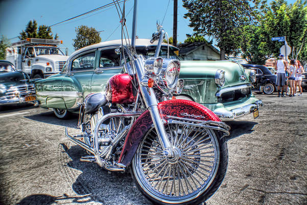 Lowrider Photographs Art Print featuring the photograph Harley And Bomb by MadMethod Designs