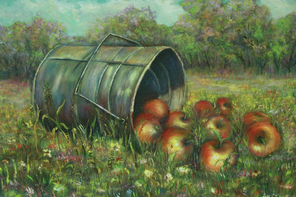 Luczay Art Print featuring the painting Harvest With Red Apples by Luczay