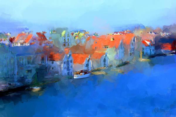 Haugesund Art Print featuring the painting Haugesund Harbour Norway by Michael Greenaway