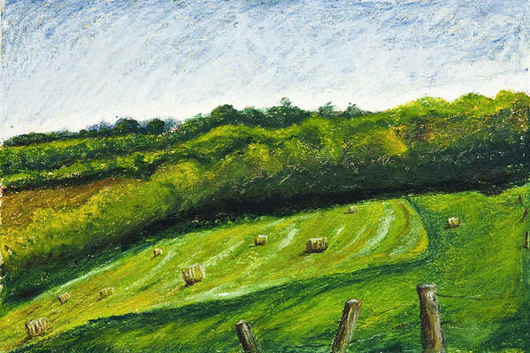 Landscape Art Print featuring the painting Hayfield by Robert Sako