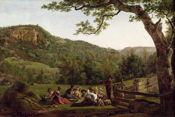 Haymakers Art Print featuring the painting Haymakers Picnicking In A Field by Jean Louis De Marne