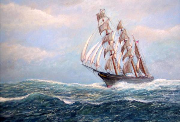 Tall Ships. Marine Art Art Print featuring the painting Headin' Home by William H RaVell III