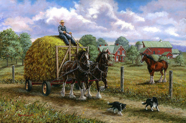 Farm Art Print featuring the painting Heading For The Loft by Richard De Wolfe