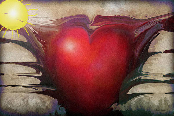 Abstracts Art Print featuring the digital art Heart Of The Sunrise by Linda Sannuti