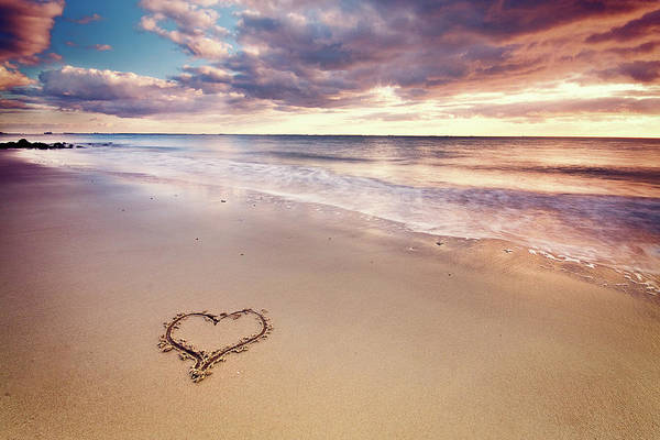 Horizontal Print featuring the photograph Heart On The Beach by Elusive Photography