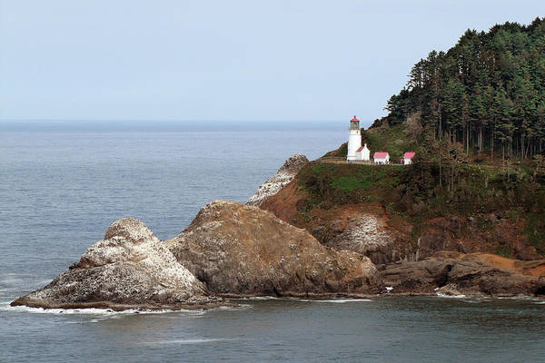 Hecata Head Lighthouse Art Print featuring the photograph Heceta Head Lighthouse - Oregon's Scenic Pacific Coast Viewpoint by Christine Till