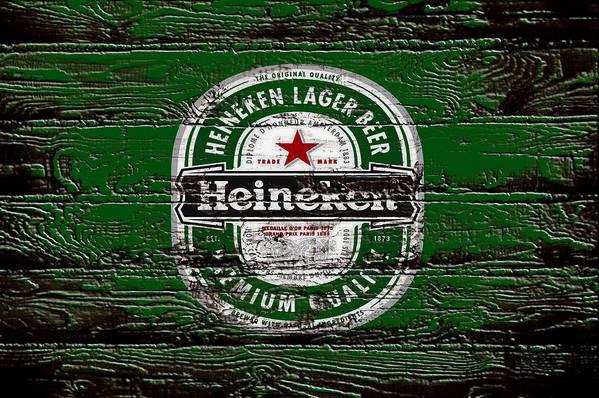 Heineken Art Print featuring the mixed media Heineken Beer Wood Sign 2 by Brian Reaves