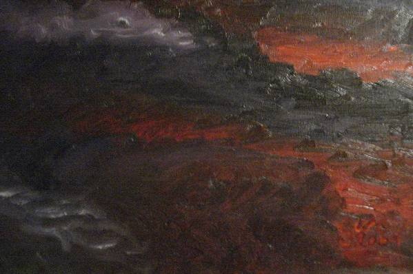 Red Art Print featuring the painting Hell's Fury by Gloria Condon