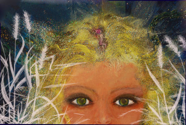 Fantasy Art Print featuring the painting Her Muse by Patricia Motley