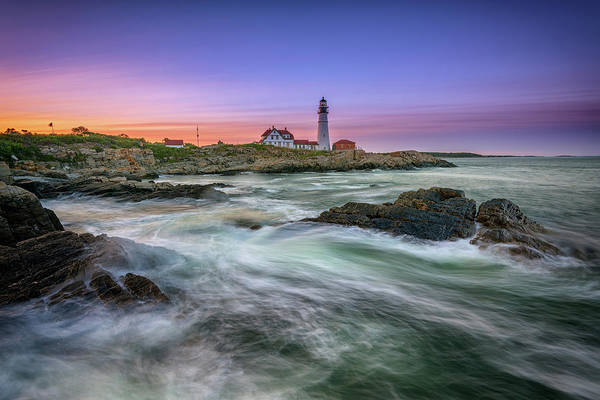 Portland Head Lighthouse Art Print featuring the photograph High Tide At Portland Head Lighthouse by Rick Berk