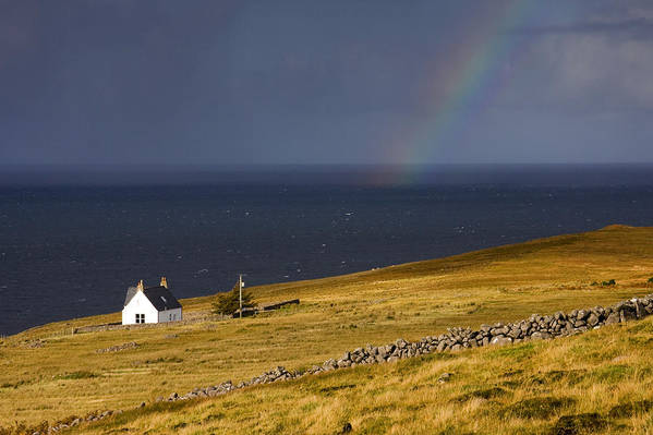 Scotland Art Print featuring the photograph Highland Cottage With Rainbow Applecross by John McKinlay