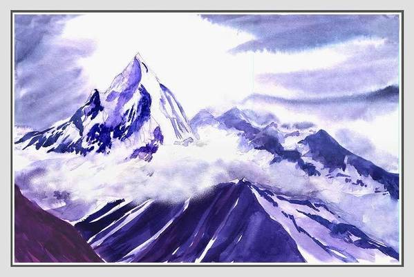 Landscape Art Print featuring the painting Himalaya by Anil Nene