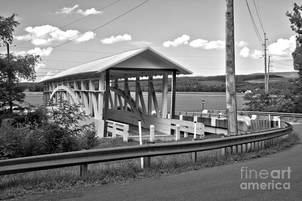 Bowser Coverd Bridge Art Print featuring the photograph History At The Bend Black And White by Adam Jewell