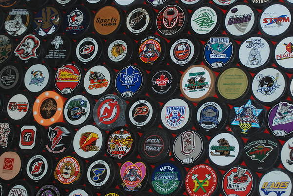 Pop Art Art Print featuring the photograph Hockey Pucks by Rob Hans
