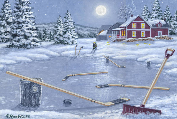 Hockey Print featuring the painting Home For Supper by Richard De Wolfe