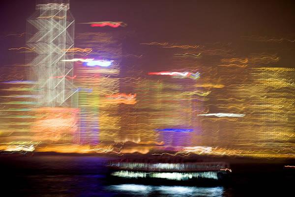 Hong Kong Art Print featuring the photograph Hong Kong Harbor Abstracted by Brad Rickerby