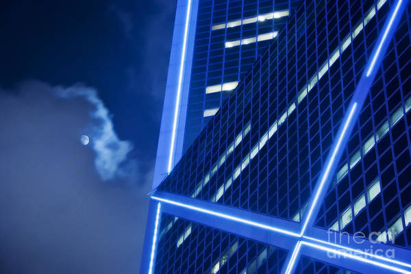 Architecture Art Print featuring the photograph Hong Kong Moonlight by Ray Laskowitz - Printscapes