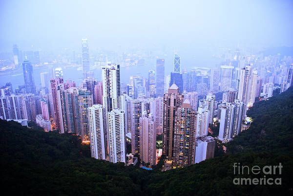 Architecture Art Print featuring the photograph Hong Kong Skyline by Ray Laskowitz - Printscapes